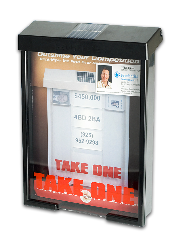 Black solar powered outdoor brochure business card holder - Outdoor brochure holders for exterior use ...
